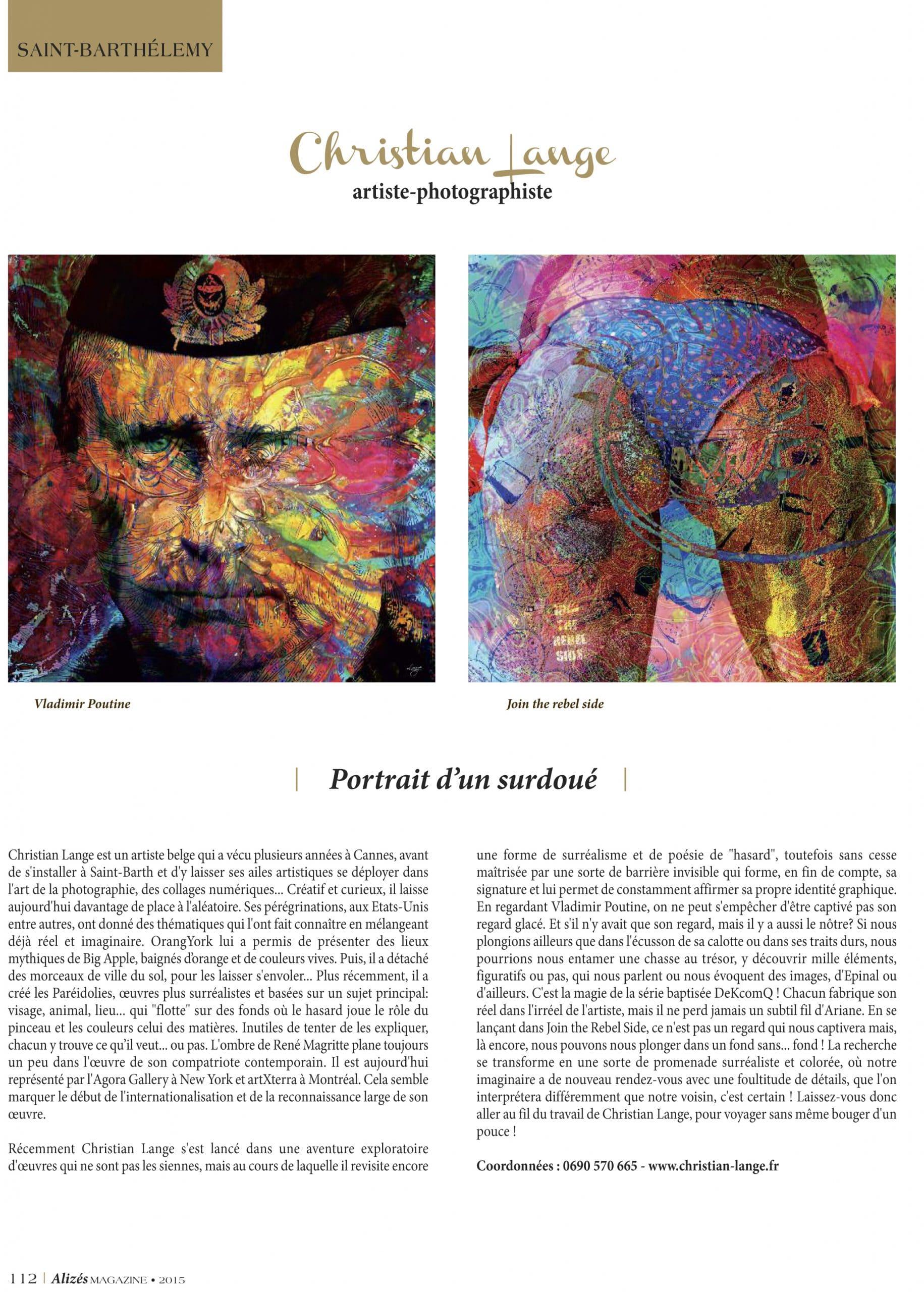 Christian L. Lange - Magazine Alizés - 2015