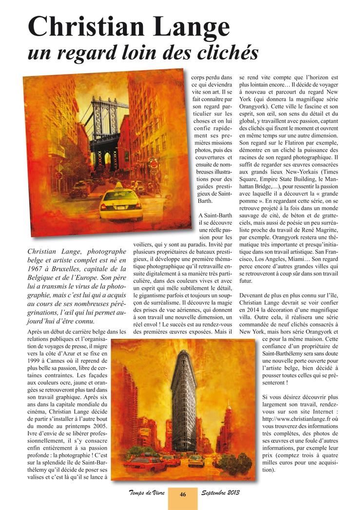 Christian L. Lange - Magazine Temps de Vivre - Septembre 2013