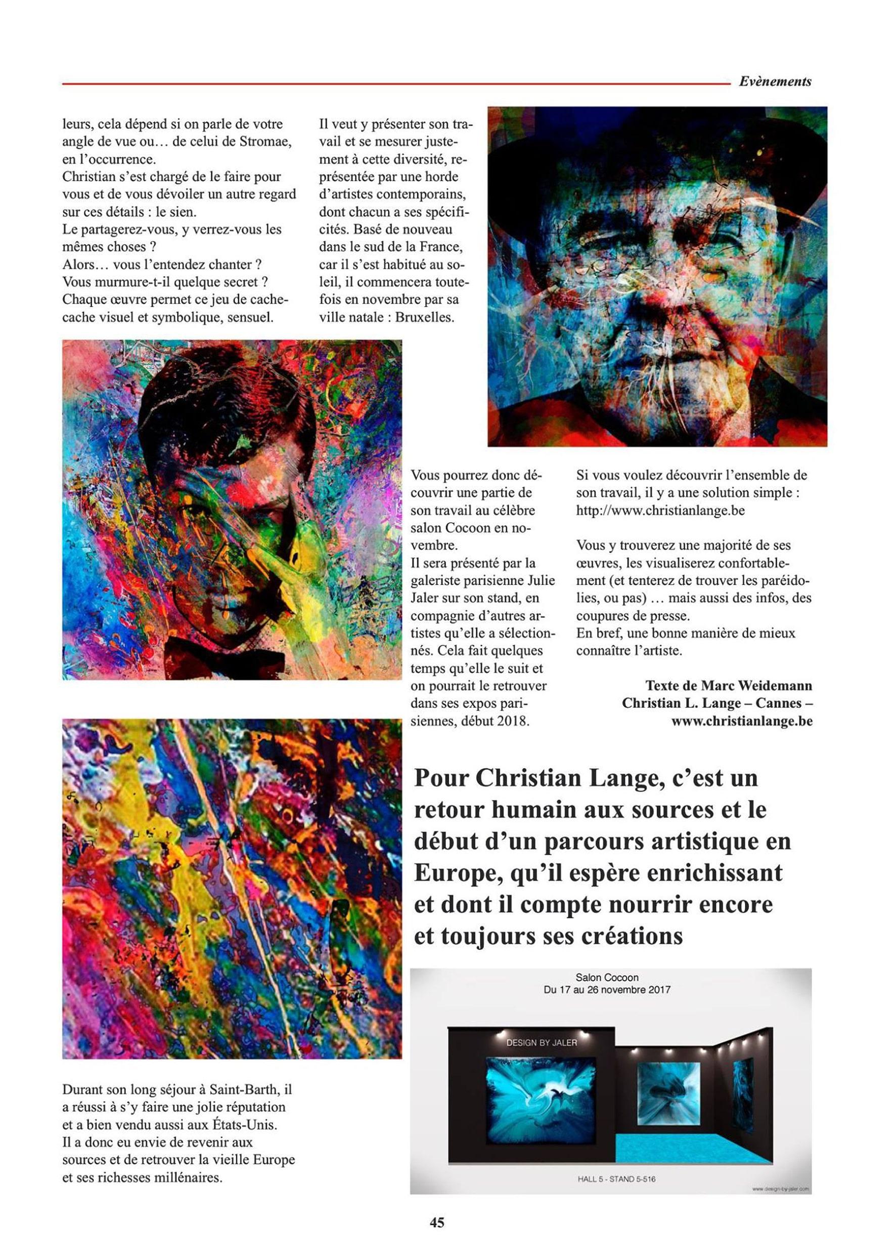Christian L. Lange - Magazine Temps de Vivre Octobre 2017